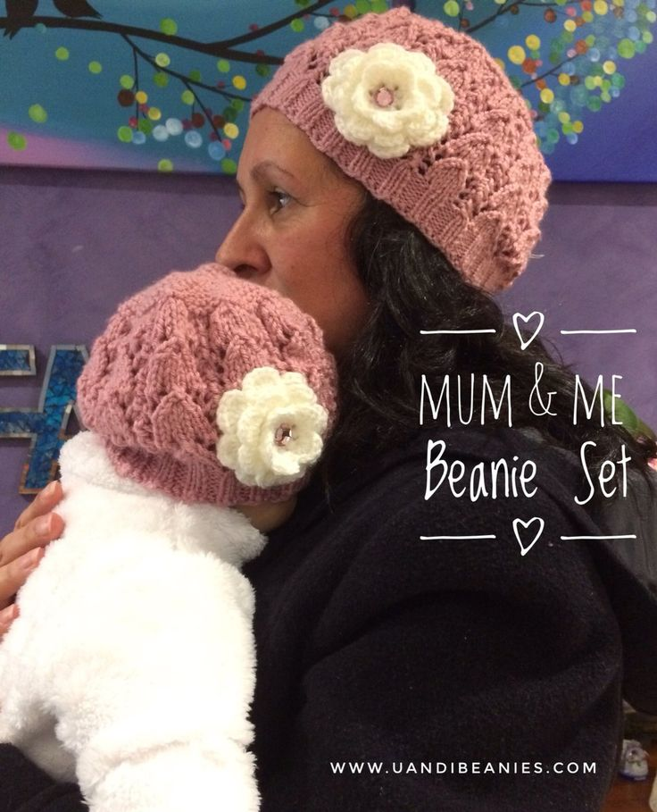 Mum and Baby Girl Beanie SET (0-3 months) Choose your colour – U and I Beanies
