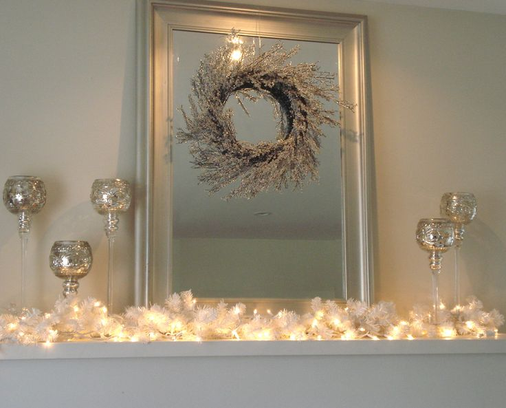 January mantle idea... This would be great with white mesh with silver metallics