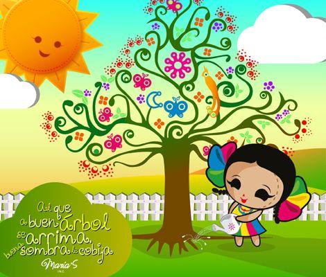 El que a buen árbol se arrima buena sombra le cobija. Ilustración y Diseño mexicano: María's Inc.
