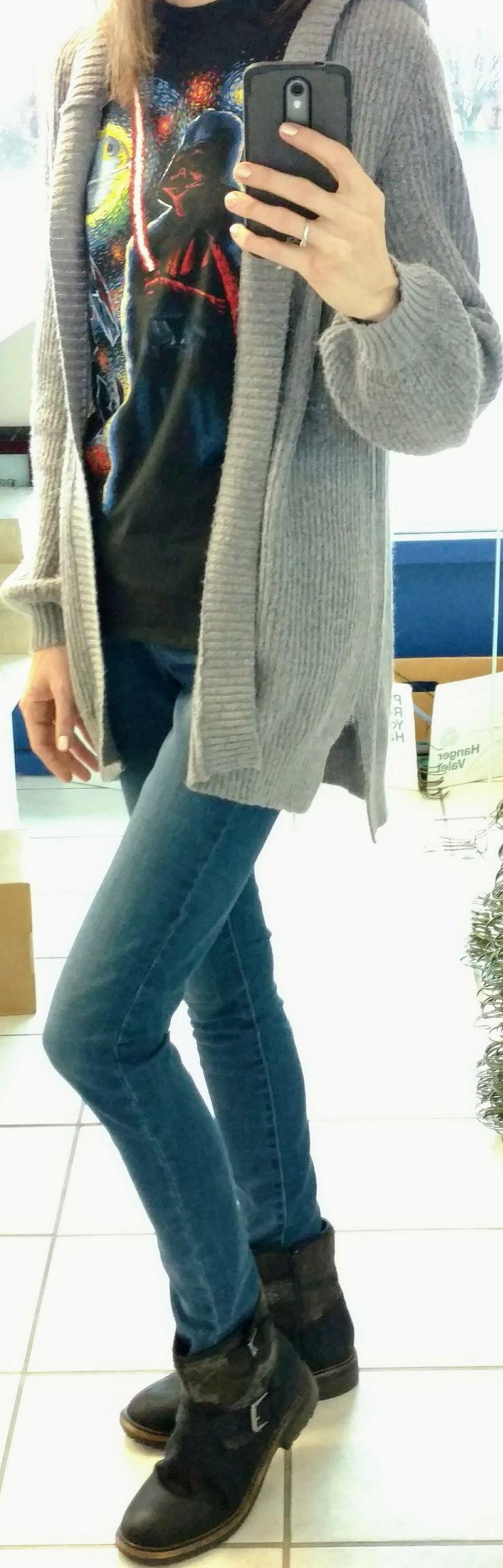 Star Wars shirt, Mudd bishop sleeve cardigan, Levi's Slimming Skinny jeans, Sonoma boots