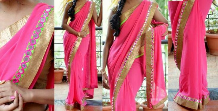 Pink saree with mirror work border