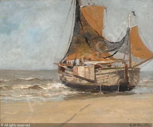 Gerhard Munthe (Norway, 1849-1929): Bomschuit op het strand