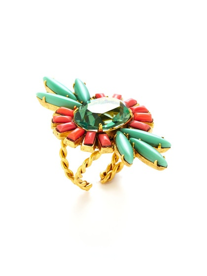 Coral & Jade Flower Ring by Elizabeth Cole on Gilt.com