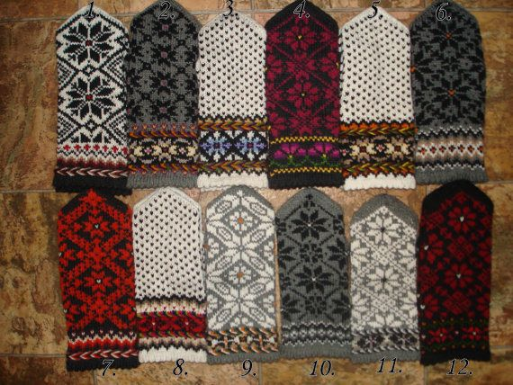 White Black Red Gray Hand Knitted Wool Mittens Hand Knitted