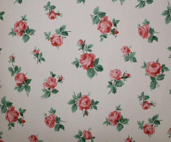 1940's Vintage Wallpaper Roses Roses Roses