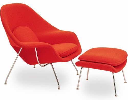 Womb Chair U0026 Ottoman Design Eero Saarinen, 1948 Upholstery, Fiberglass U0026  Steel Made In USA By Knoll