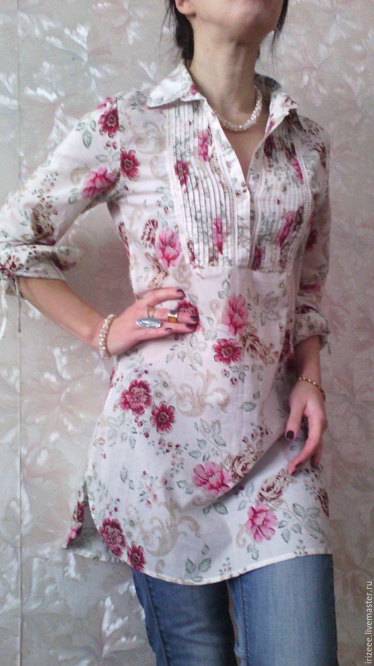 Купить или заказать Платье- рубашка батистовая Английский фарфор-розовый сад в интернет-магазине на Ярмарке Мастеров. Для тех, кто понимает и ценит комфорт натуральных тканей Легкая летняя рубашка из тонкого марокканского батиста отличного качества и великолепной расцветки 'розовый сад' Длинный рукав, маленькая стоечка, планка, декорирована складочками - защипами и узкой полоской машинной строчевой вышивкой. ОГ не более 98 см. ДИЗ 82, по спинке 86 см. пропорции на рост 160-168 см.