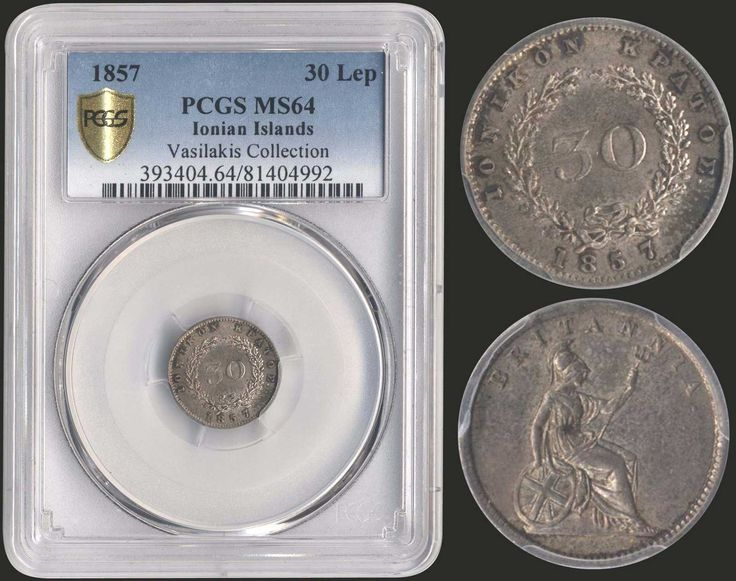 "30 new Obols (1857) in silver with ""Seated Britannia"". Inside slab by PCGS ""MS 64 - Vasilakis Collection"". Only one known in better condition in both companies. (Hellas I.32)."