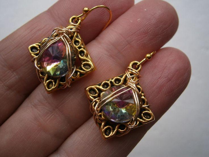 Ohrringe - Ohrringe Glitzer Kristalle pink grün Geschenk Etui - ein Designerstück von kunstpause bei DaWanda