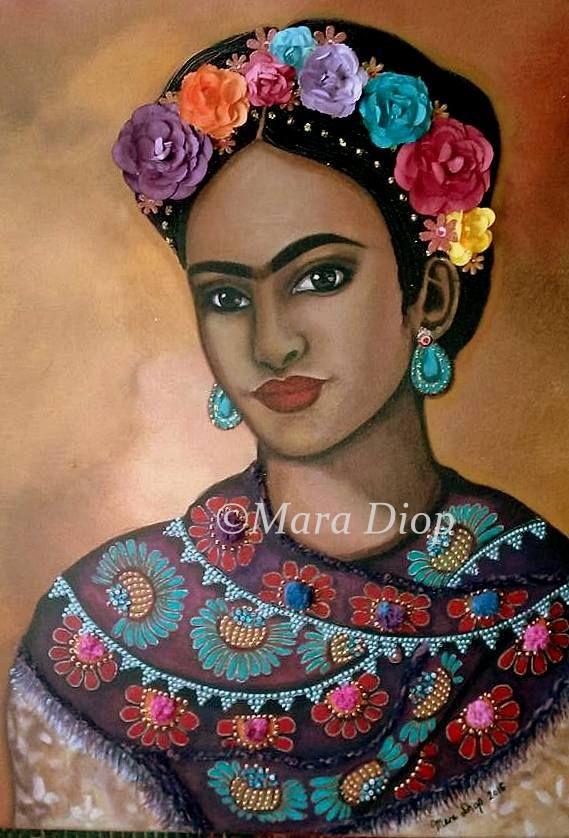 Frida Kahlo - Mixed media painting by Mara Diop