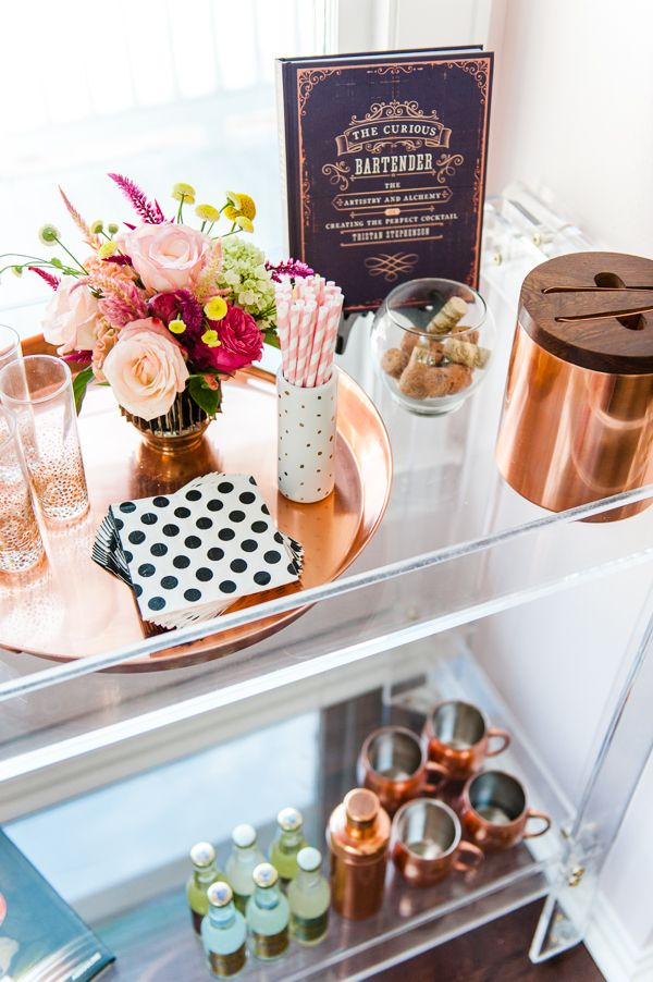 lovely copper bar cart accessories