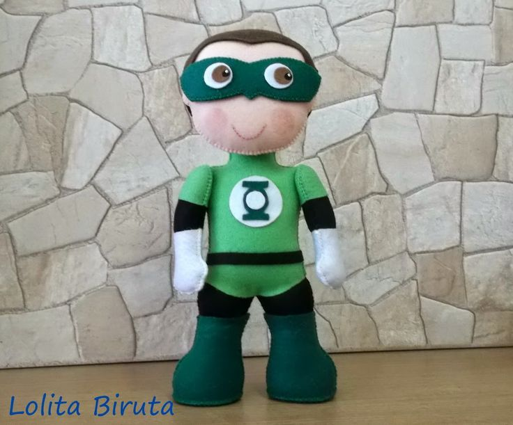 Boneco Super herói em feltro Lanterna Verde