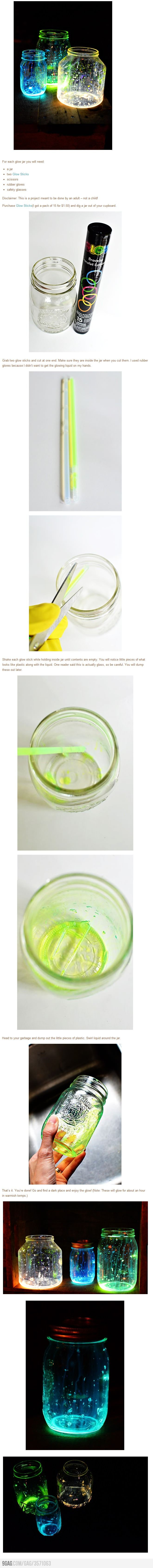 Glow Jars! Great for bon fire nights when you need a little glow for the snack/drink table.