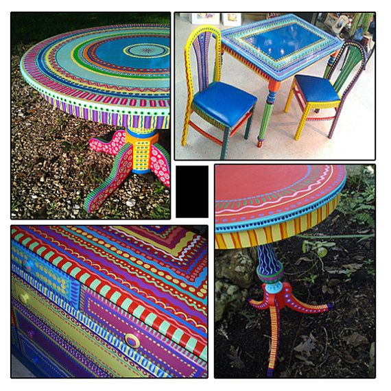 absolutely awesome Hand Painted Furniture Wild and Crazy Custom Made to by LisaFrick, $150.00 these are colourful, unique, and sooo pretty! what a great idea - i want these in my house one day!!