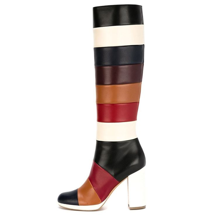 AIWEIYi Womens Multi Color Chunky Heel Platform Mid Calf Boots * You can find out more details at the link of the image.
