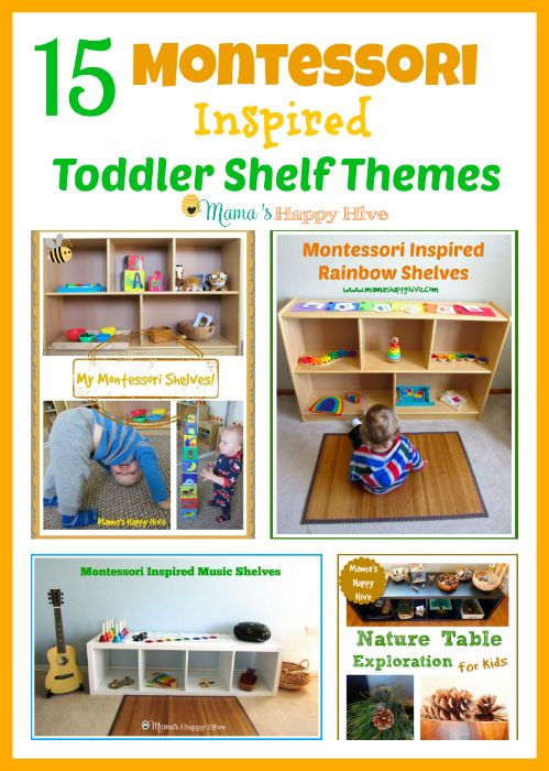 This is a lovely collection of 15 Montessori toddler shelf themes to enjoy with a child from 1-3 years old.  - www.mamashappyhive.com