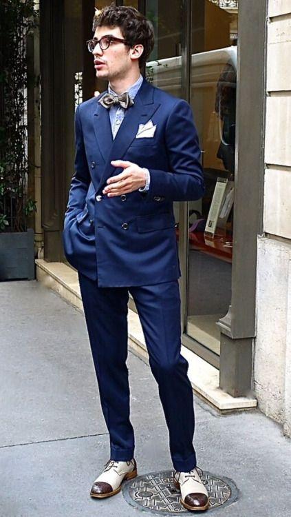 紺ダブルスーツ×白茶コンビストレートチップ