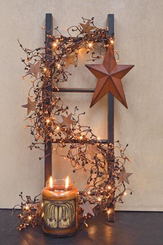 Prim Ladder With Lights & Rusty Star...Home Accents...Kruenpeeper Creek Country Gifts.