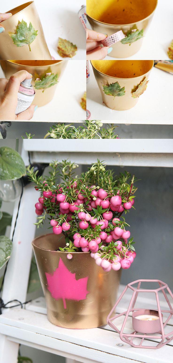 Mein DIY Herbstbalkon: Pflanzen-Pflege-Tipps für tolle Herbstpflanzen für den Balkon und ein Herbst DIY für den Balkon im Herbst | Pflanztopf mit Blättermotiv selbermachen | Herbst DIY