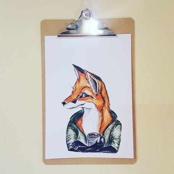 Watercolor fox print fox arta4  fox  print by jessicasarahdesign
