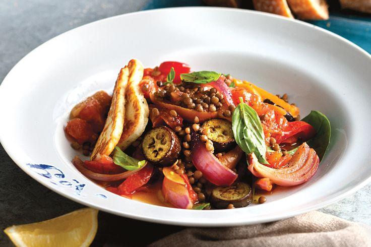 Sweet eggplant and lentil salad with haloumi http://www.taste.com.au/recipes/31623/sweet+eggplant+and+lentil+salad+with+haloumi
