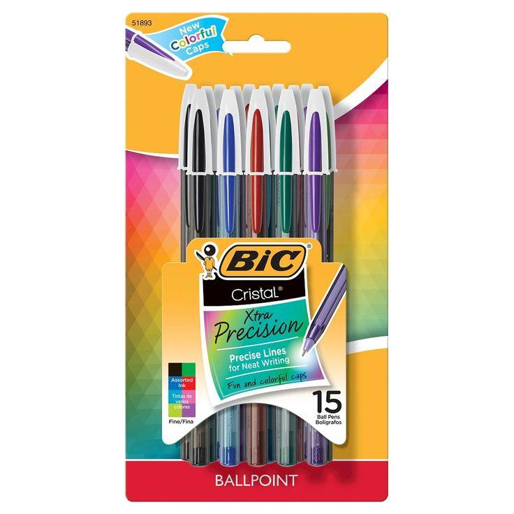 BIC Cristal Xtra Precise Ballpoint Pen 15ct - Multicolor,