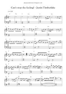 play popular music, Can't stop the feeling! - Justin Timberlake, free piano sheet music
