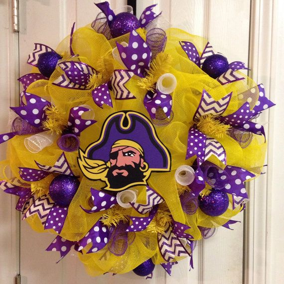 This wreath will make a huge impact on the door of any ECU fan! Would be a great present or housewarming gift. The deco mesh base measures