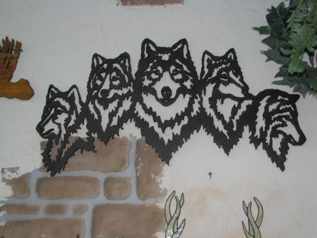 A Guide To Rustic Décor A Brief Introduction To This: Wood Scroll Saw Scene Of Wolf Heads. Perfect For Rustic
