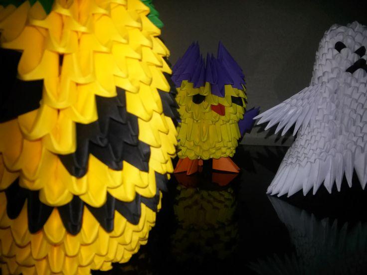 Halloween. Mihaela's Origami3D Halloween diy handcrafted origami paper pumpkin interior decorations.