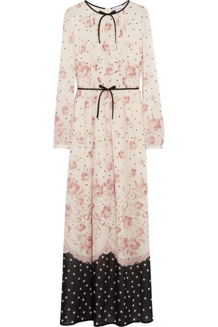 REDValentinoPrinted stretch-silk chiffon maxi dress ...