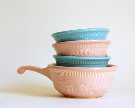Oven Serve Bowls: Pink Turquoise Taylor Smith Taylor Custards, French Onion Soup Bowl