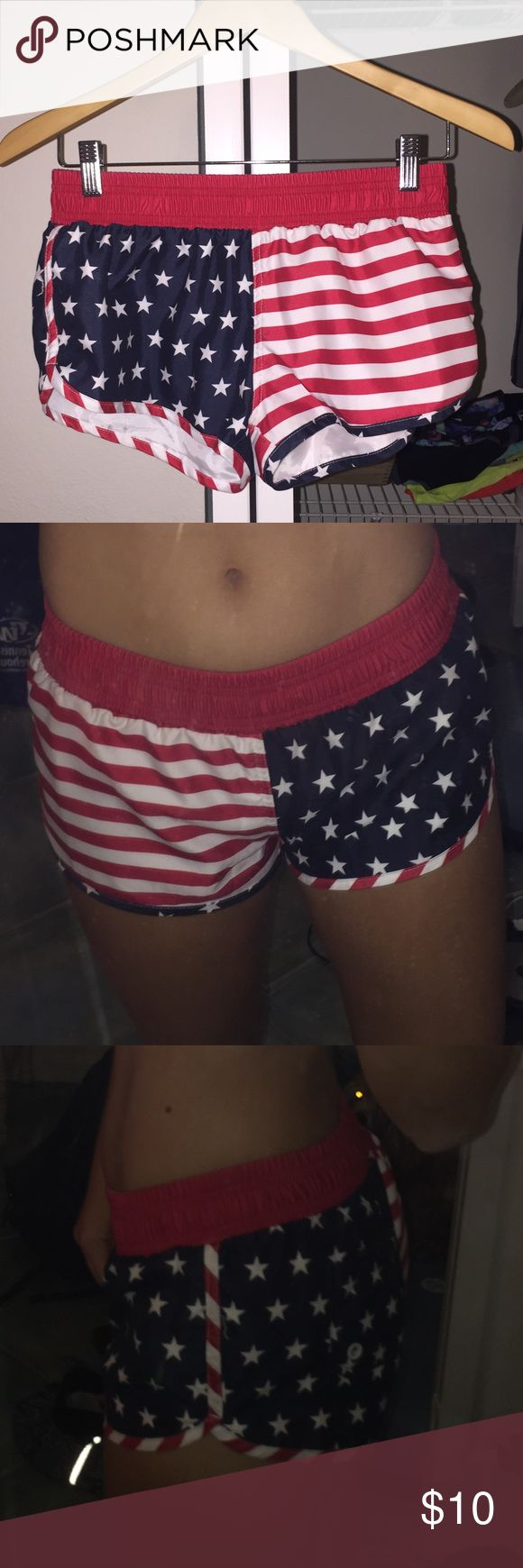 American Flag Shorts (Chubbies Knockoffs) American Flag print athletic style shorts. Brand new condition, pocket in back. Shorts