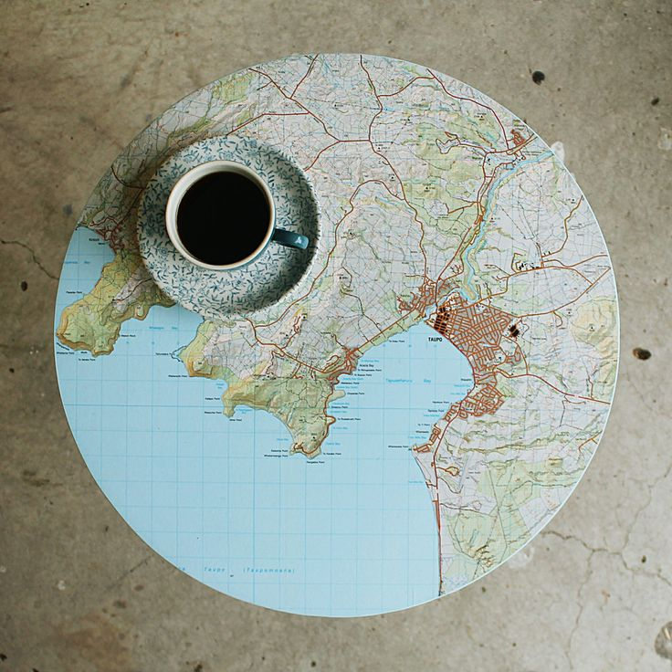 Circular Taupo map topped 3 legged side table