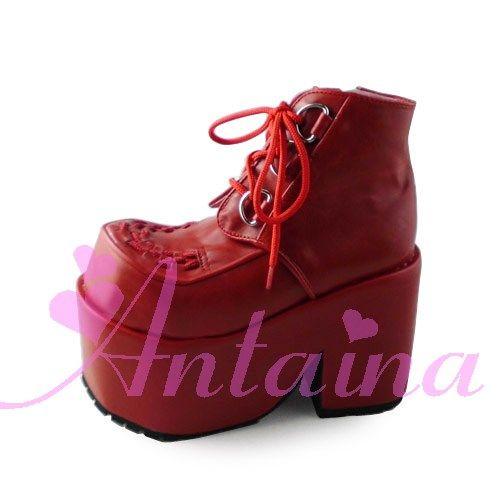 Принцесса сладкий готическая лолита туфли в стиле «Лолита» Лолита Cos панк клинья Увеличение Женская обувь темно-красный 9101