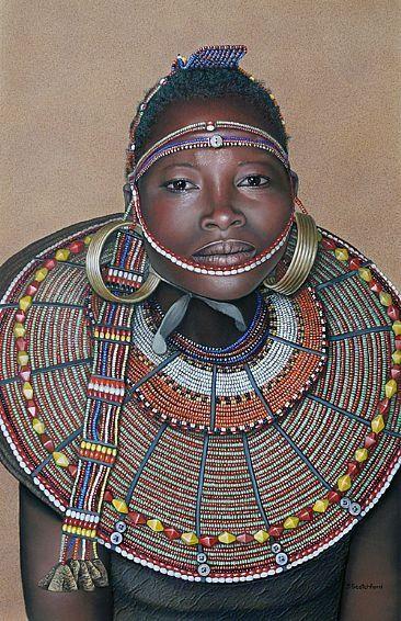 Mujer ataviada con cuello tradicional del pueblo Pokot, Kenia