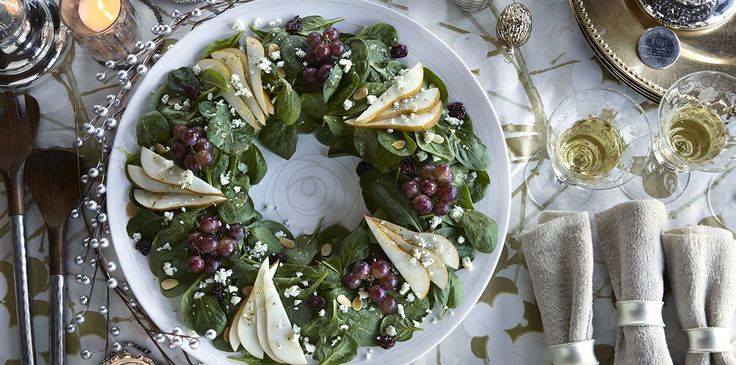 This holiday salad uses the DOLE® Spinach Cherry Almond Bleu Kit.