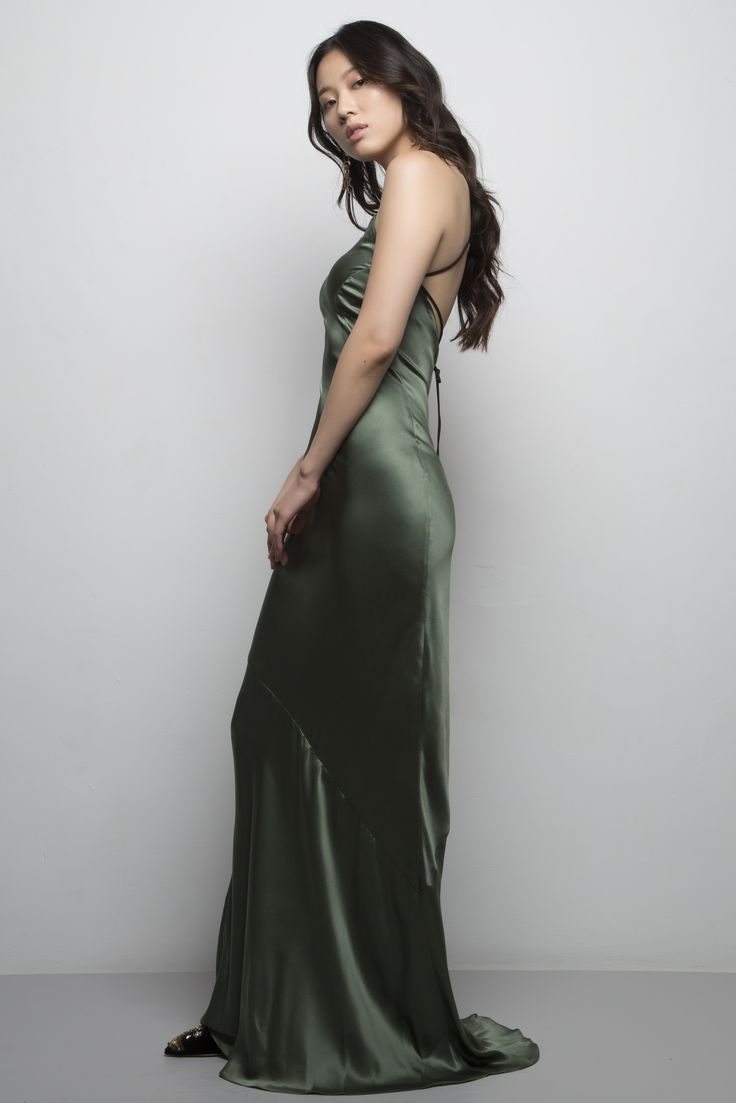Tara Gown. Ties 5 ways and is available in champagne, black, white, army green, and dusty blue.
