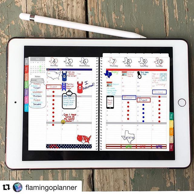 Ok this is kind of blowing my mind. @flamingoplanner is using her ipad and an app called good notes that looks just like an analog planner...but it's digital (obviously). It's like #inception. A planner of a planner in a planner :blush:  Of this sounds in