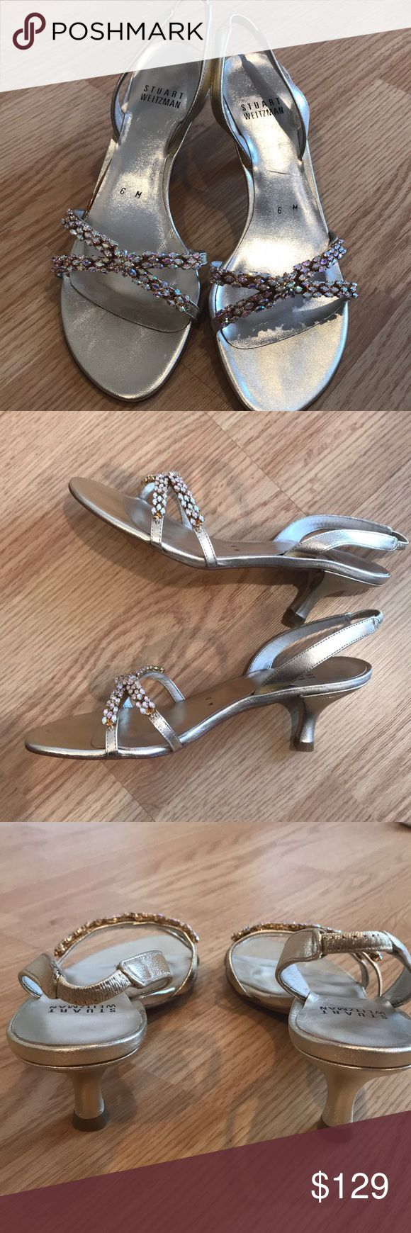 "Stuart Weitzman ""Fabulous"" Slingback Sandal Gold leather slingback sandal.  Iridescent crystals across straps. Pictures do not do them justice!  Brand new in box. Slightly irregular (minor discoloration on heel- see photos) Stuart Weitzman Shoes Sandals"