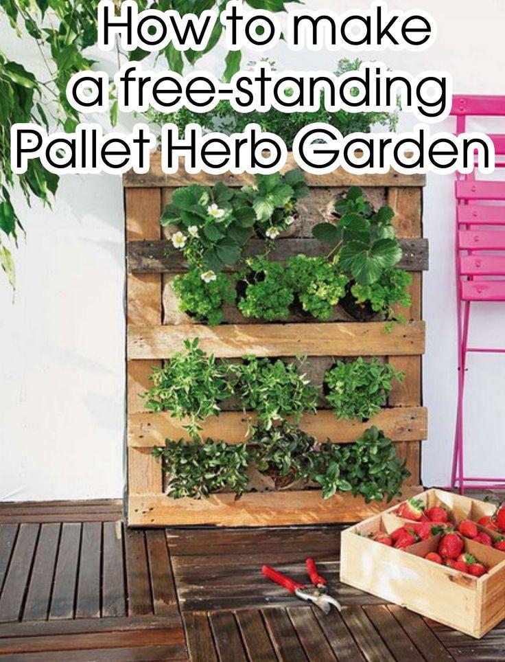 17 best images about garden on pinterest pallet herb for Vertical pallet garden bed