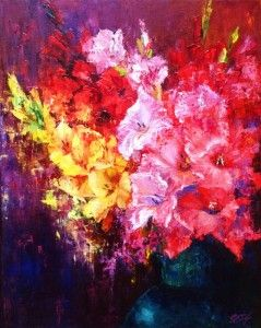 """Still life with Gladioli"" by Alena Rumak"