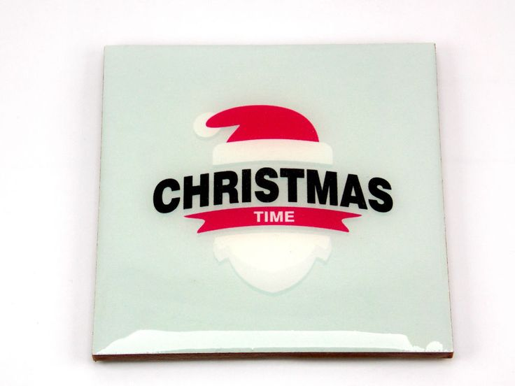Christmas Time Santa Claus Cap Beard Drink Coaster Unique Gift MDF Wood Osarix