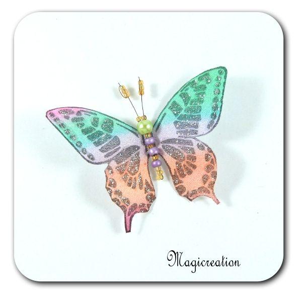MAGNET PAPILLON SOIE MULTICOLORE - ADELE - Boutique www.magicreation.fr
