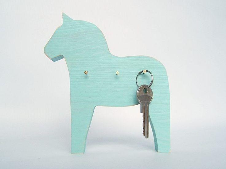 Wooden turquoise horse - little rack