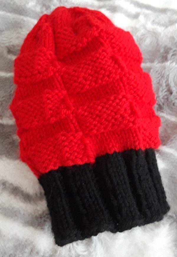 Black & Red Checkerboard Beanie: a Fun, Free Hat Knitting
