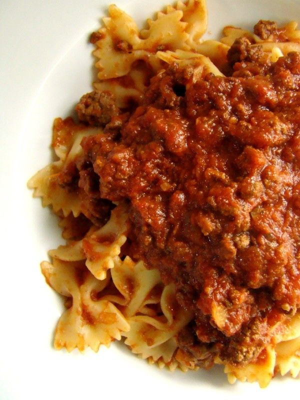 Farfalle with slow cooker bolognese | Lidia's Secret Recipes