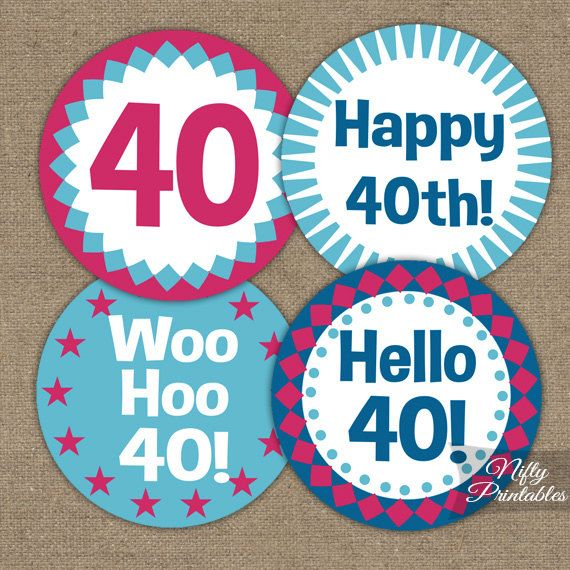 40th Birthday Cupcake Toppers  40th Birthday by NiftyPrintables