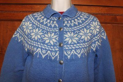 Vintage Norwegian Handmade 100 Wool Jumper Blue Sweater Small ' | eBay