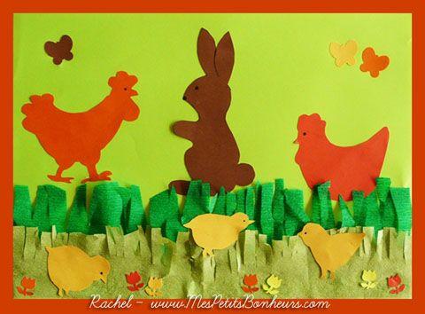 Dessins de Pâques : modèles de lapins, poules et poussins – gabarits à découper